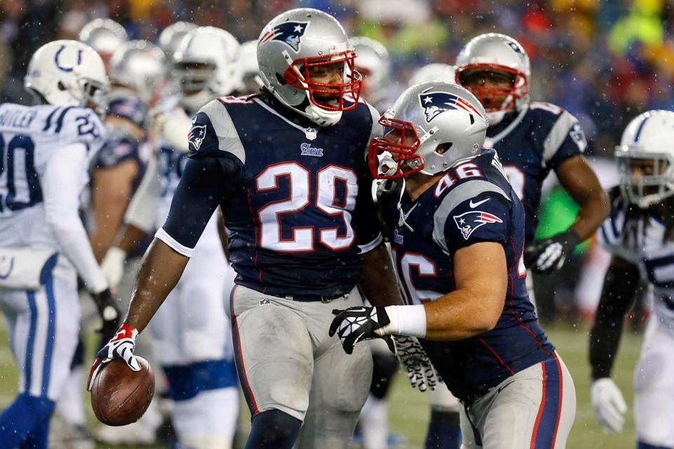 LeGarrette Blount scored three touchdowns in the first half of the game. With his fourth, he set a postseason team record.