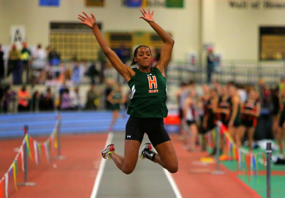 Jessica Scott of Hopkinton ttok state honors in the long jump and the 55-meter dash.
