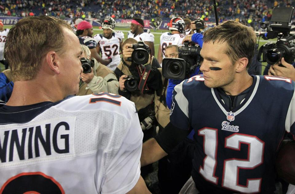 The AFC Championship Game will be a showdown between Peyton Manning (left) and Tom Brady.