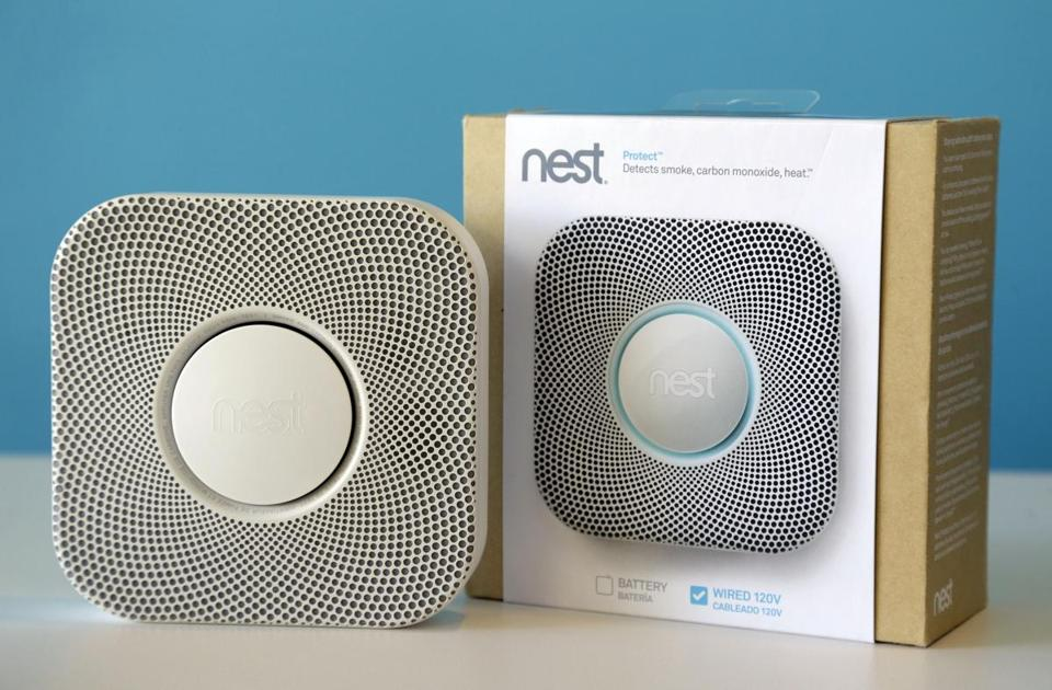 The Nest smoke and carbon monoxide detector costs $129. A wave of an arm will cancel a false alarm.