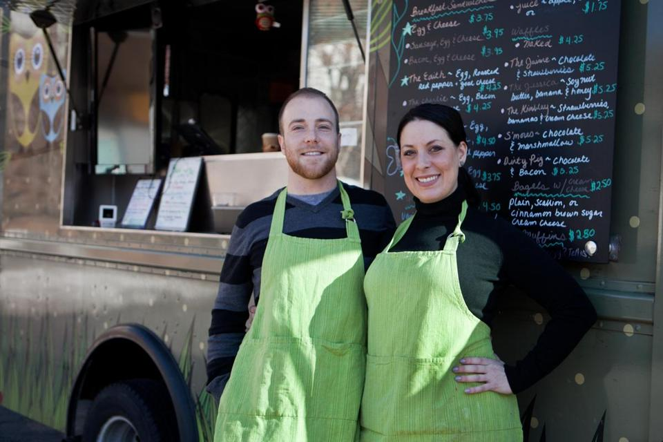 Geoff Escott and Jaime Andrews, co-owners of the Green Bean Mobile Cafe.