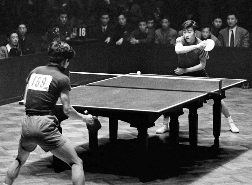 Zhuang Zedong (right) led China to victory in the 1961 World Table Tennis Championship in Beijing, a key moment in the history of the sport.