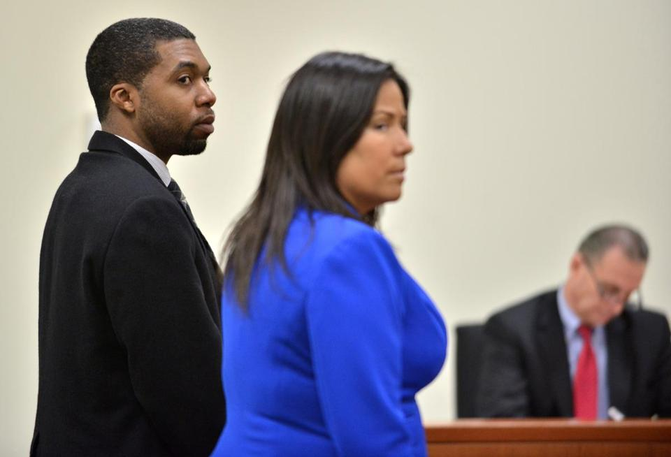 State Representative Carlos Henriquez of Dorchester looked toward the jury Wednesday.
