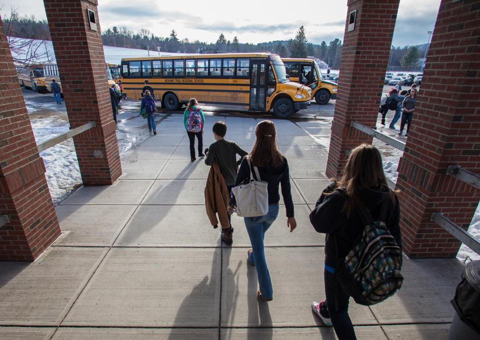 Students at Mohawk Trail Regional High School in Shelburne Falls headed for their buses after school.