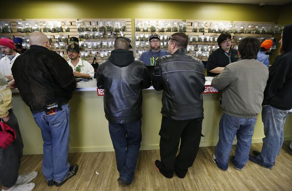 Customers flowed into the Medicine Man marijuana retail store in Denver on Jan. 1.