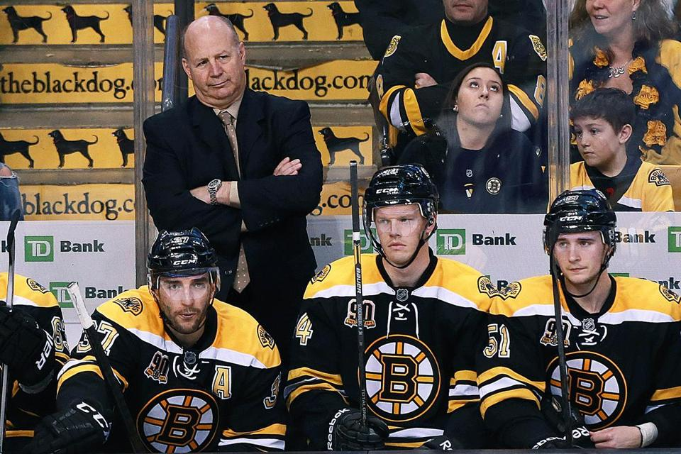 A late penalty call against Zdeno Chara (not pictured) has coach Claude Julien and his Bruins in a foul mood during the third period of a 4-3 loss to the Maple Leafs at TD Garden.