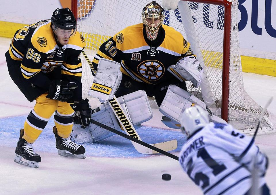 Tuukka Rask had a clear view of Jake Gardiner's shot — it sneaked in anyway.