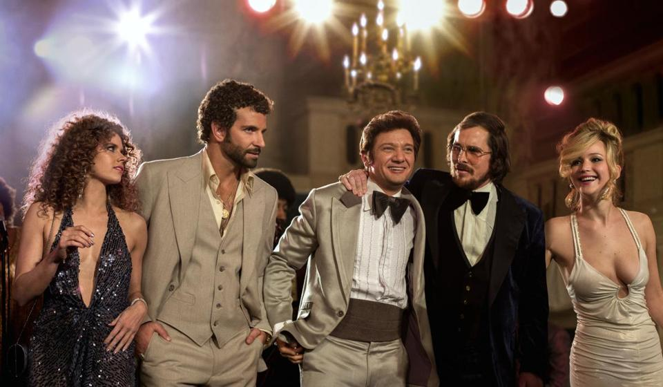 "Amy Adams, Bradley Cooper, Jeremy Renner, Christian Bale and Jennifer Lawrence starred in""American Hustle."" The film was nominated for an Academy Award for best picture."