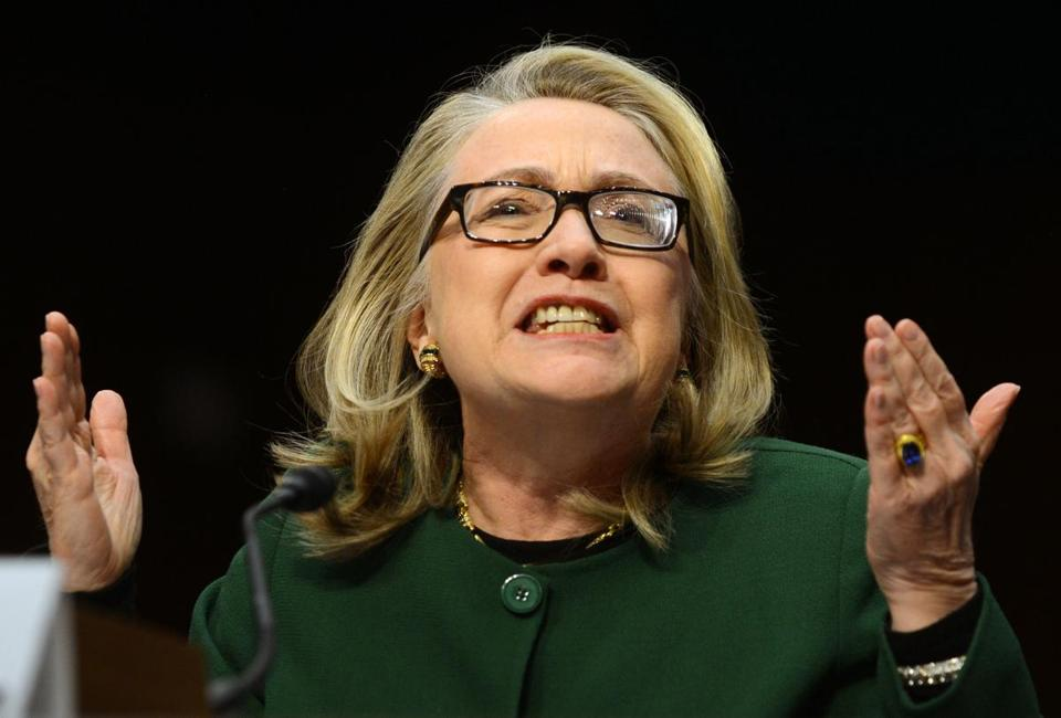 Then-US Secretary of State Hillary Clinton testified before the Senate Foreign Relations Committee on Benghazi during a hearing on Capitol Hill on Jan. 23.