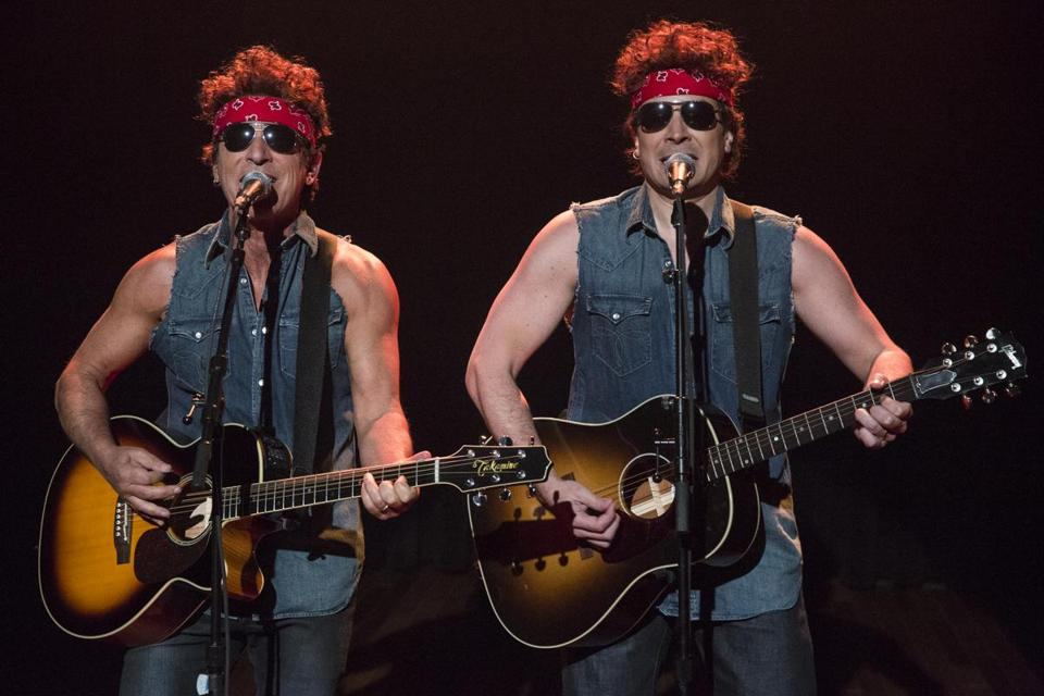 "Bruce Springsteen (left) and Jimmy Fallon performed the duet during Tuesday's episode of ""Late Night with Jimmy Fallon."""