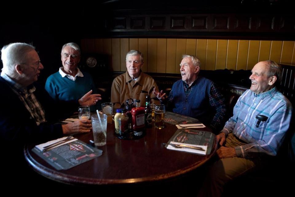 Bud Purcell, 83, Walt Greeley, 82, Joe Morgan, 83, Jim Campion, 82, and Dick Rodenhiser, 81, (left to right) gather regularly to share memories of their days as pioneers in the first Beanpot Tournament.