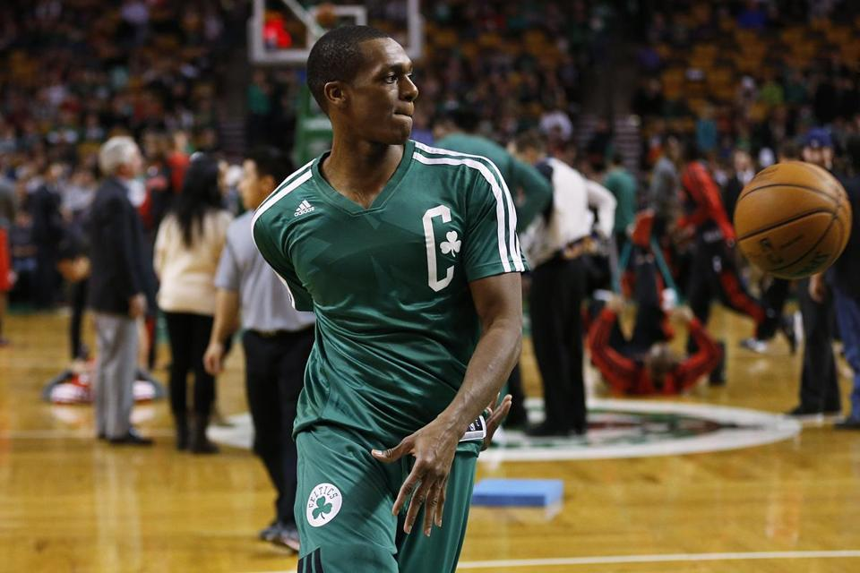 Celtics point guard Rajon Rondo took to the court prior to Wednesday's game against the Raptors.