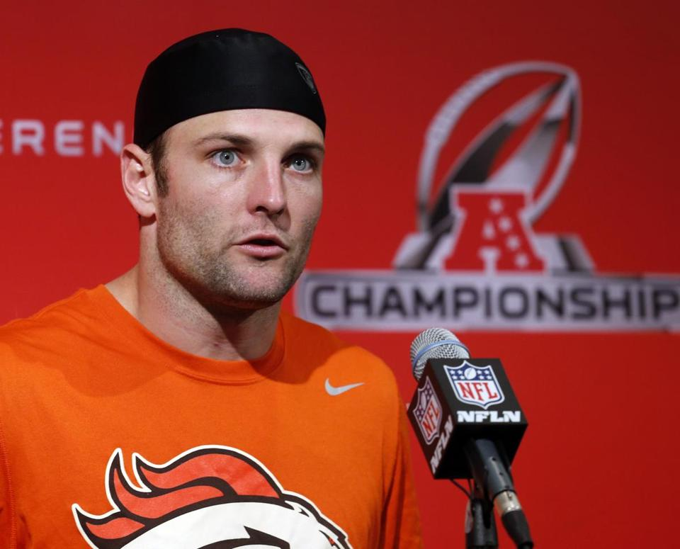 Wes Welker spoke at a news conference in Englewood, Colo., on Wednesday.