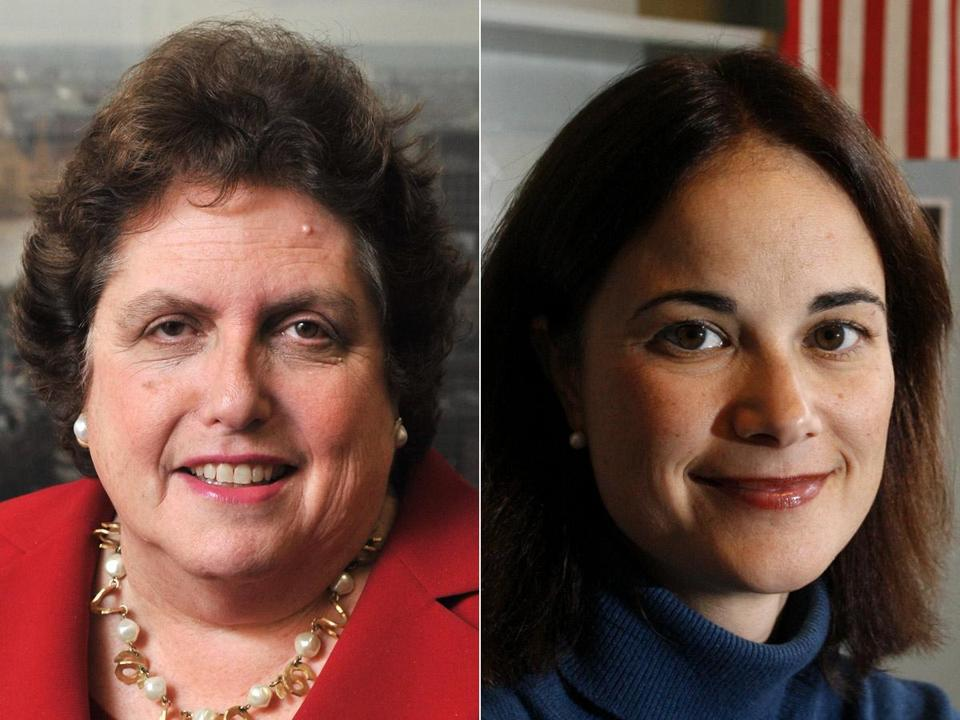 Joanne Goldstein (left) is taking a job at Northeastern University, and Rachel Kaprielian, the Registry chief, will be her successor.