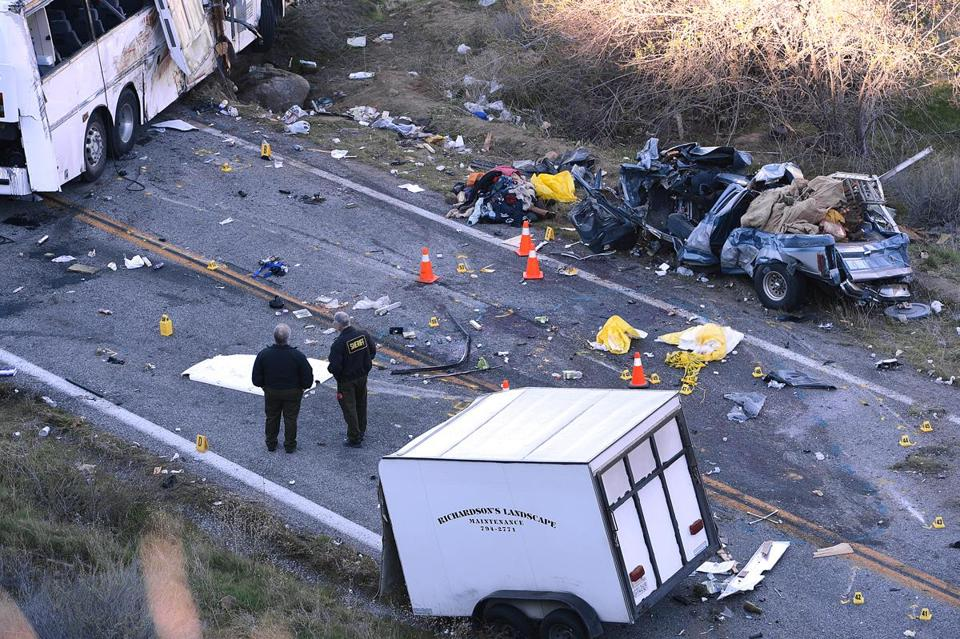 Last February a tour bus collided with a pickup truck in California, killing eight people and injuring 11.