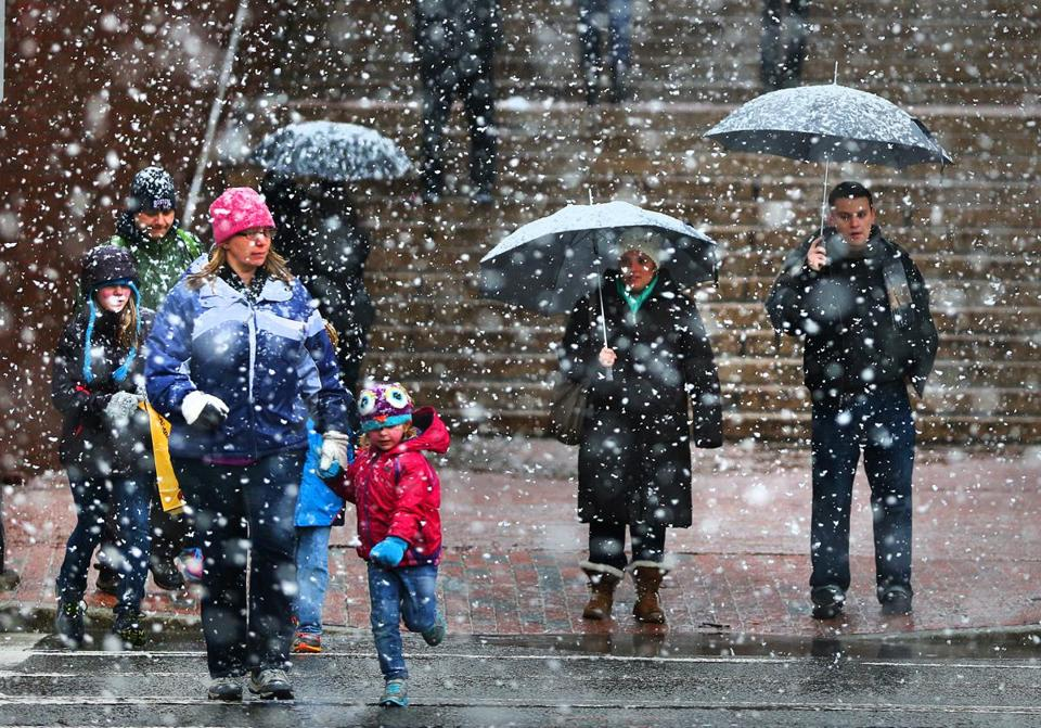 A wet, heavy snow fell across Greater Boston Saturday afternoon.