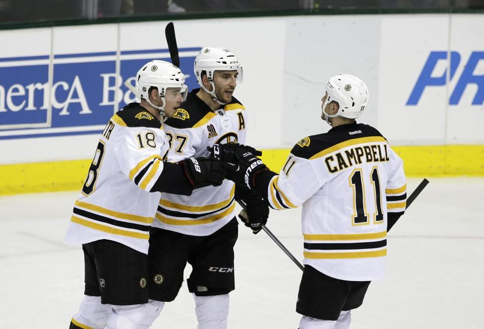 Reilly Smith (18), Patrice Bergeron, and Gregory Campbell had a hand in Thursday's win.