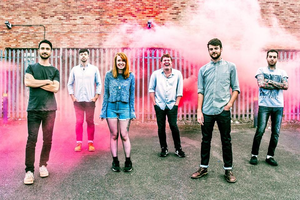 From left: Tom, Rob, Kim, Gareth, Neil, and Jason of Los Campesinos!