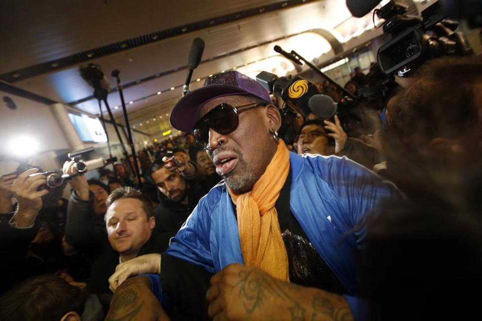 Dennis Rodman arrived Monday at the Beijing airport after a trip to North Korea.