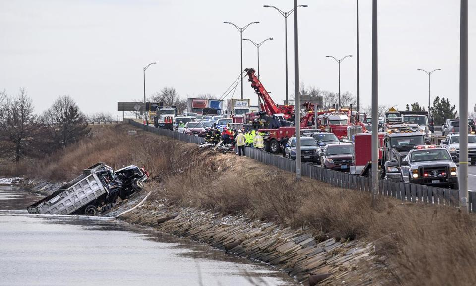 The truck crash on I-93 north in Dorchester delayed traffic for hours.