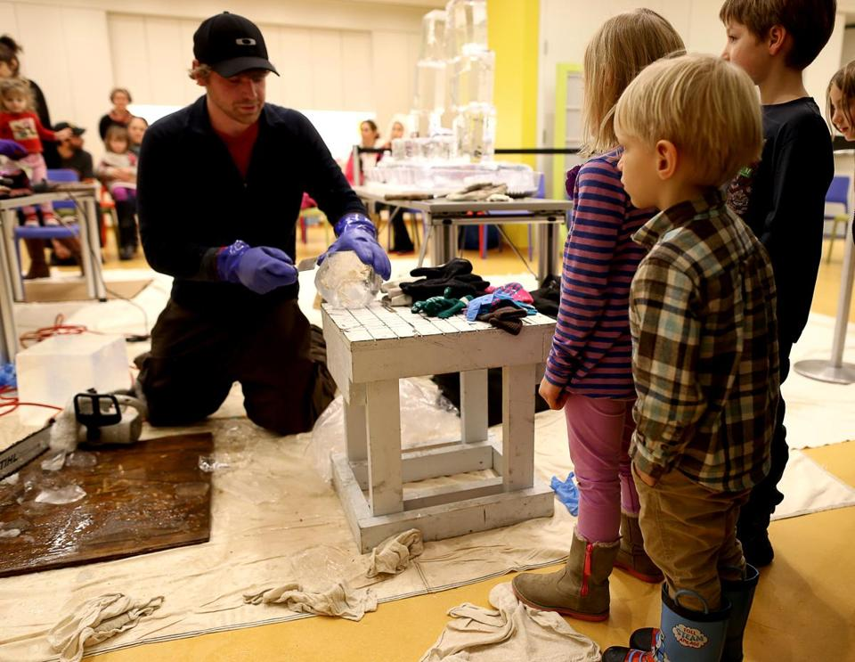 Lars Miller demonstrates ice sculpting at the Peabody Essex Museum in Salem.
