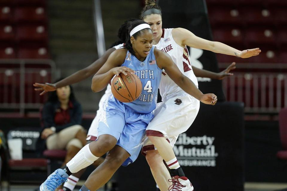 The Boston College women dropped a 73-56 decision to No. 9 North Carolina Sunday.