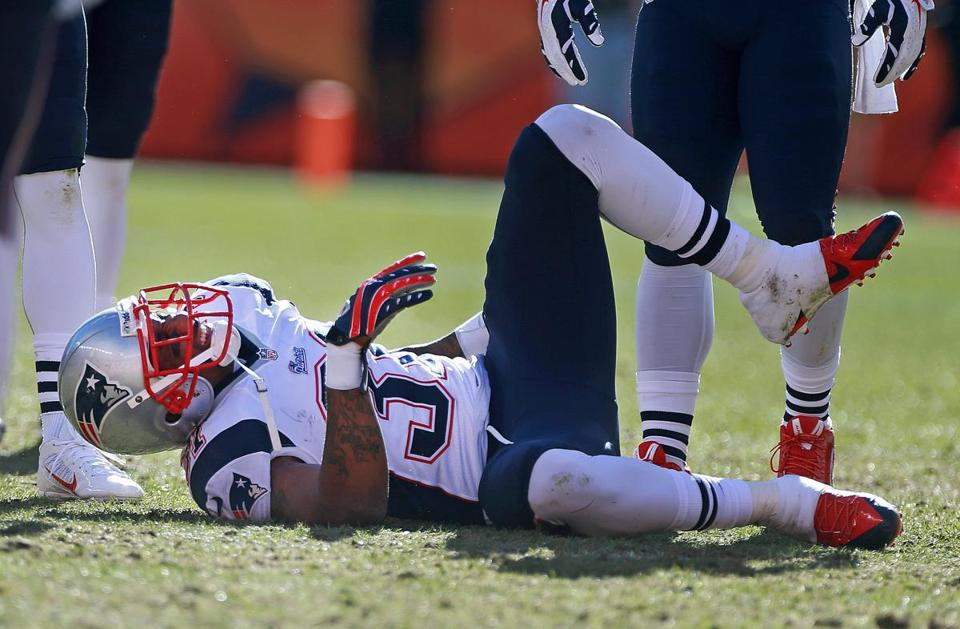 "Aqib Talib collided wtih Denver's Wes Welker and went down in the second quarter. ""As it turned out, that was a key play in the game,"" Bill Belichick said. ""He's a key player for us."""
