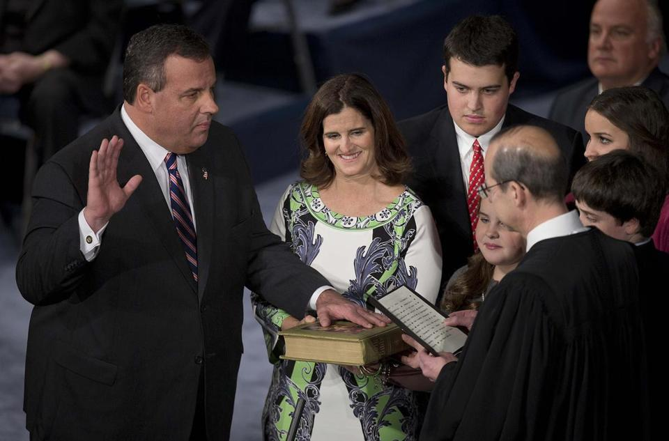 Governor Chris Christie was sworn in for his second term at the War Memorial Theatre in Trenton, New Jersey.