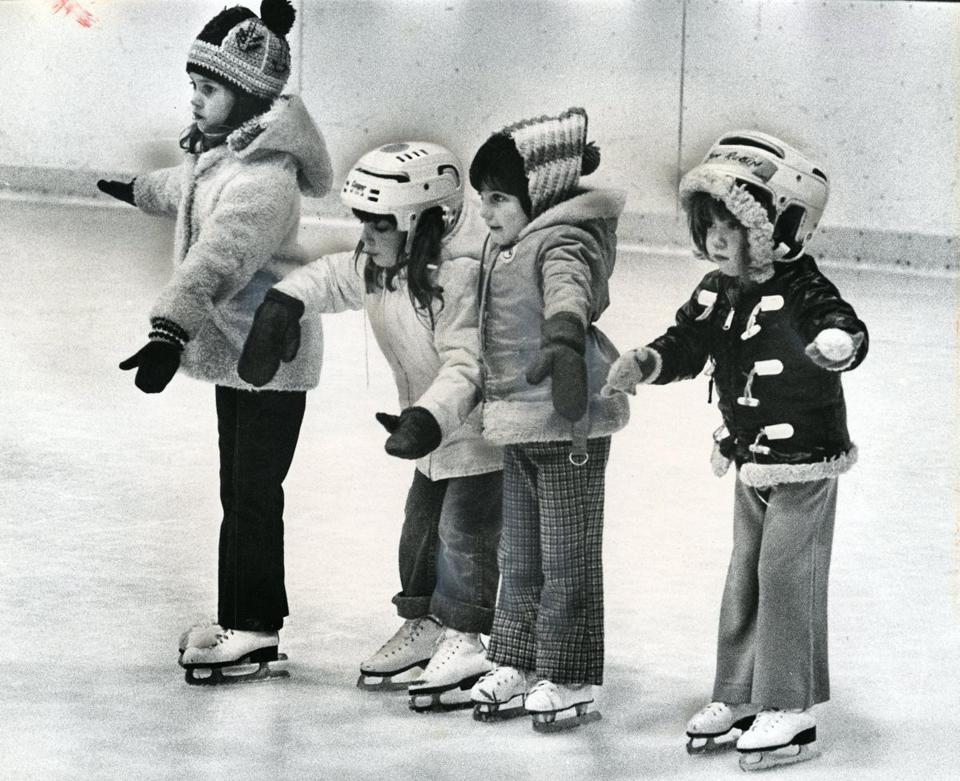 Nov. 16, 1976: Four youngsters cautiously made their way across the ice at Sudbury rink. They are (from left), Hilary Cline, 5, of Sudbury, Lisa Schulman, 4 of Framingham and Rachel Stone and Linda Rubin, both 5 and both of Sudbury.