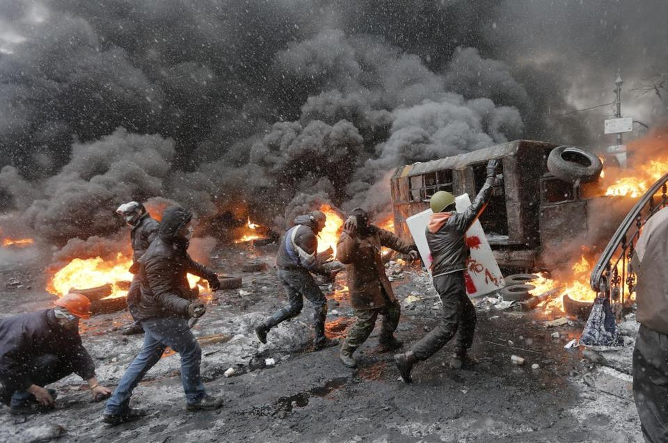 Protesters clashed with police in central Kiev, Ukraine.