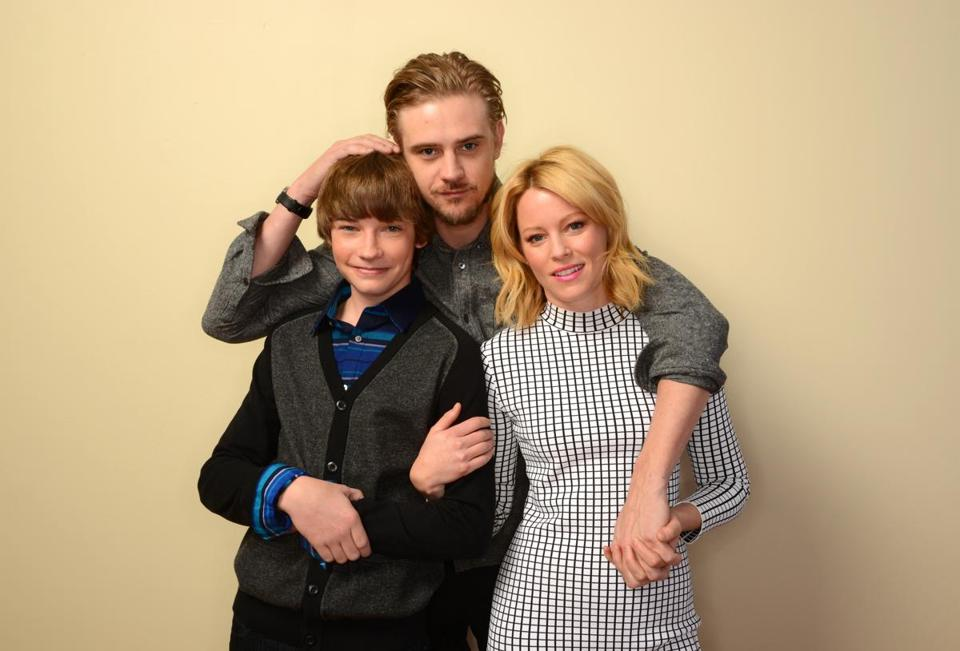 "Jacob Lofland (left), Boyd Holbrook, and Elizabeth Banks at Sundance for ""Little Accidents."""