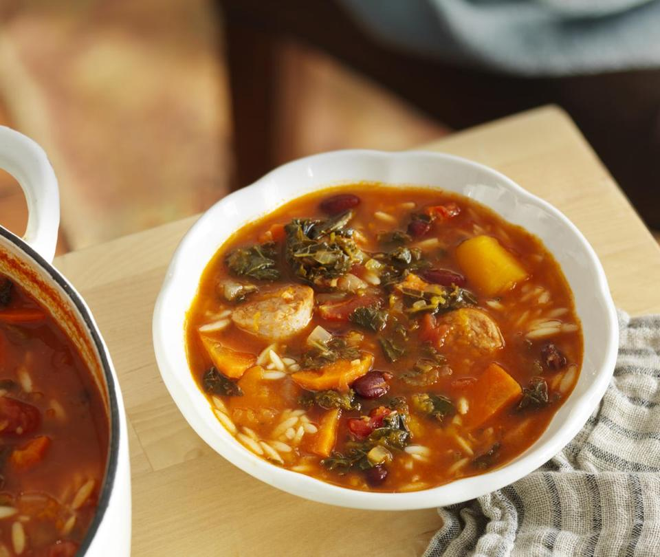 Sausage, tomato, and squash minestrone.