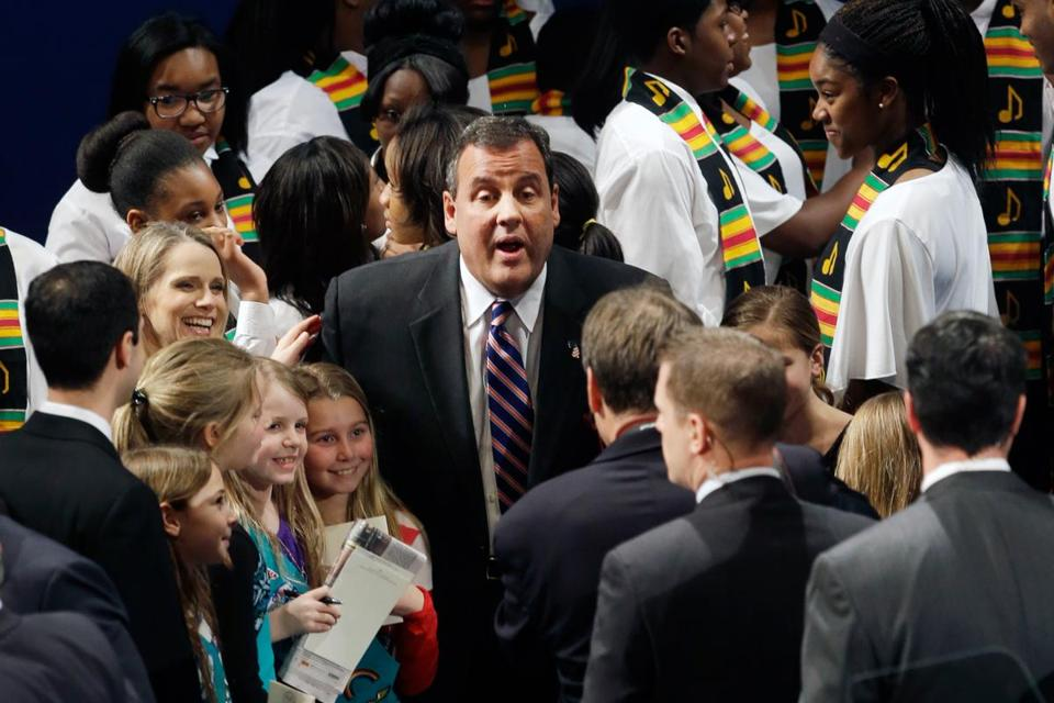 Governor Chris Christie of New Jersey (center), who was reelected by a 22-point margin, was sworn in on Tuesday.