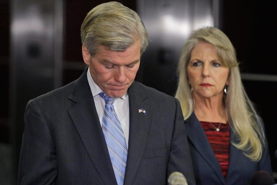 Robert McDonnell and his wife, Maureen, appeared at a news conference Tuesday after learning that they were indicted on charges of illegally accepting gifts and loans.