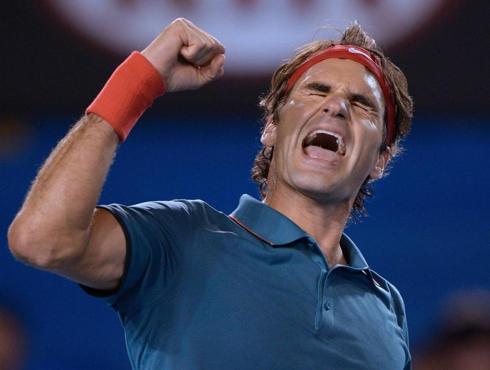 Roger Federer celebrated after beating Andy Murray.