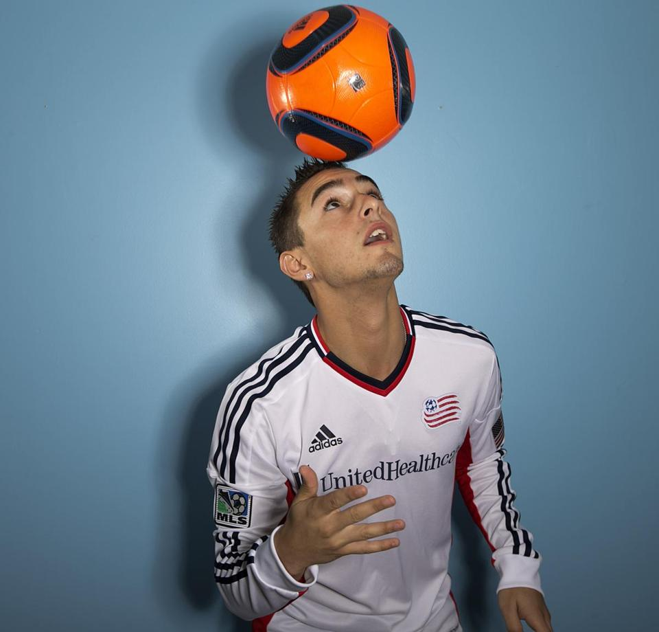 The 19-year-old star midfielder for the New England Revolution, in his family's Leominster home