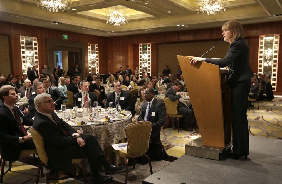 Massachusetts Attorney General Martha Coakley addressed a breakfast meeting of the Greater Boston Chamber of Commerce on Thursday.