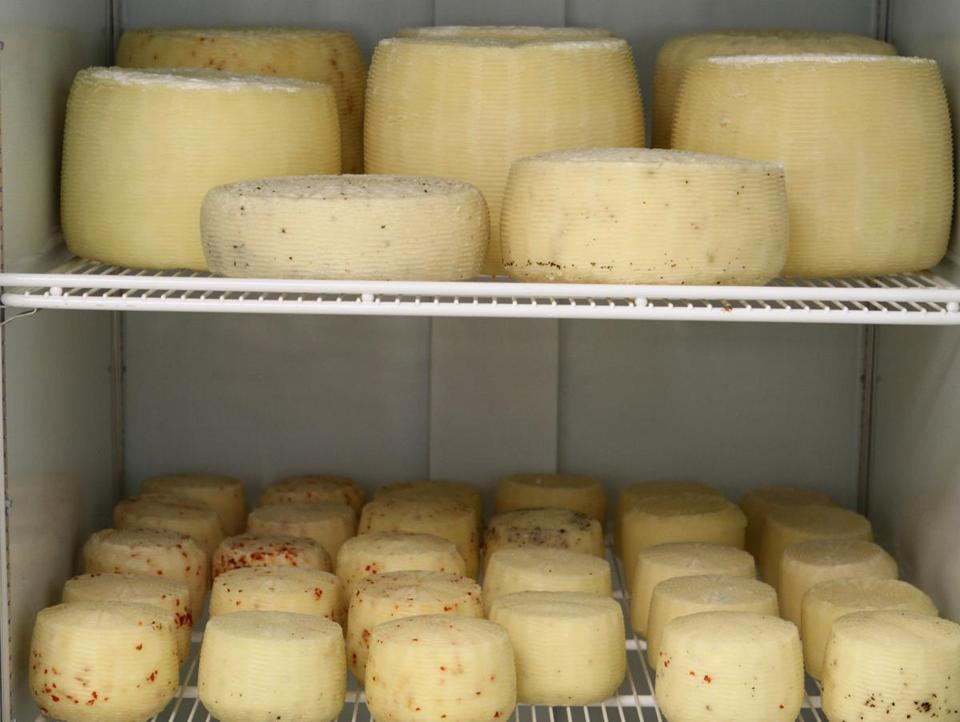 A variety of cheeses age at Wolf Meadow Farm in Amesbury.