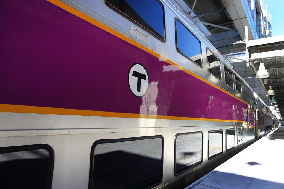 A Hyundai Rotem commuter rail car sat in South Station.  The state of Massachusetts spent $190 million for the cars.