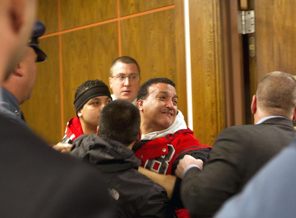 Sandrino Oliver was escorted out of the courtroom after his outburst.