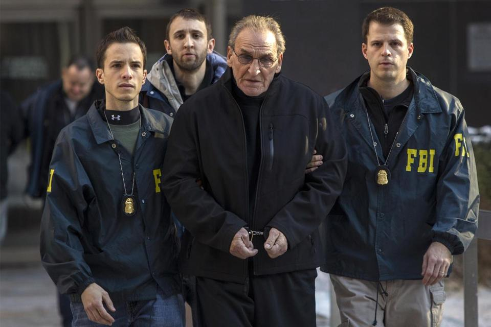 Bonanno crime family leader Vincent Asaro wass escorted by FBI agents from their Manhattan offices.