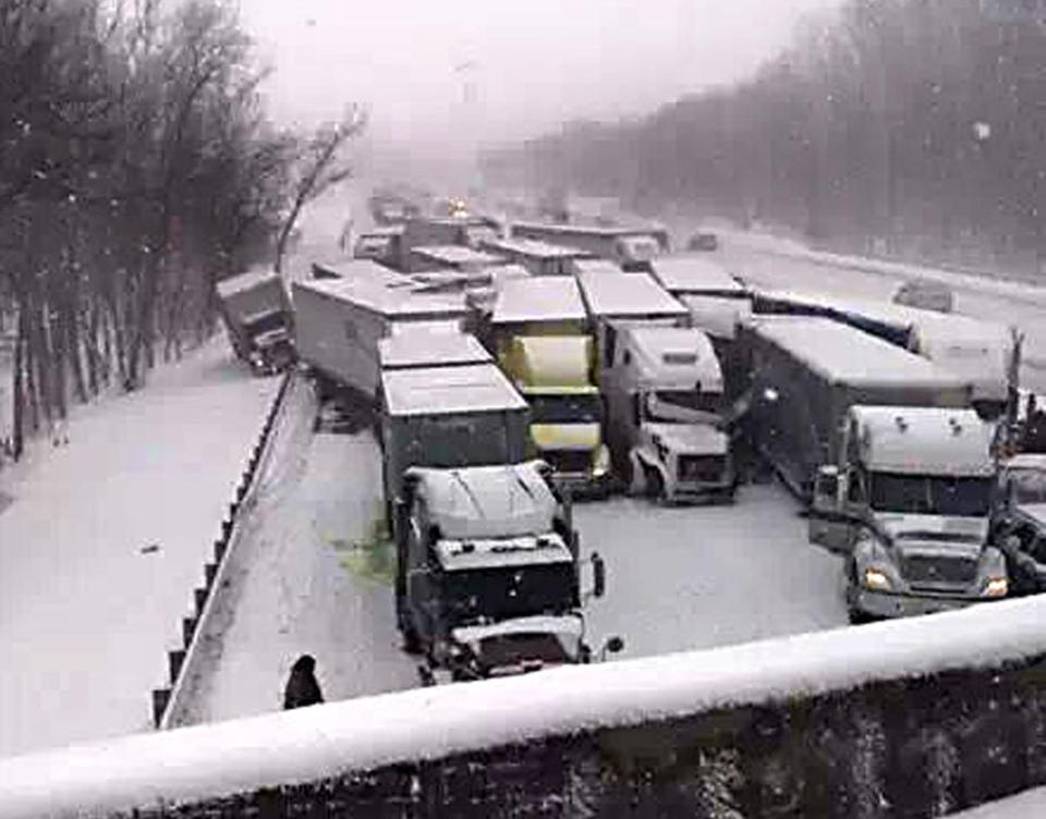 This cell phone image shows a massive highway pileup on Interstate 94 near Michigan City, Ind.