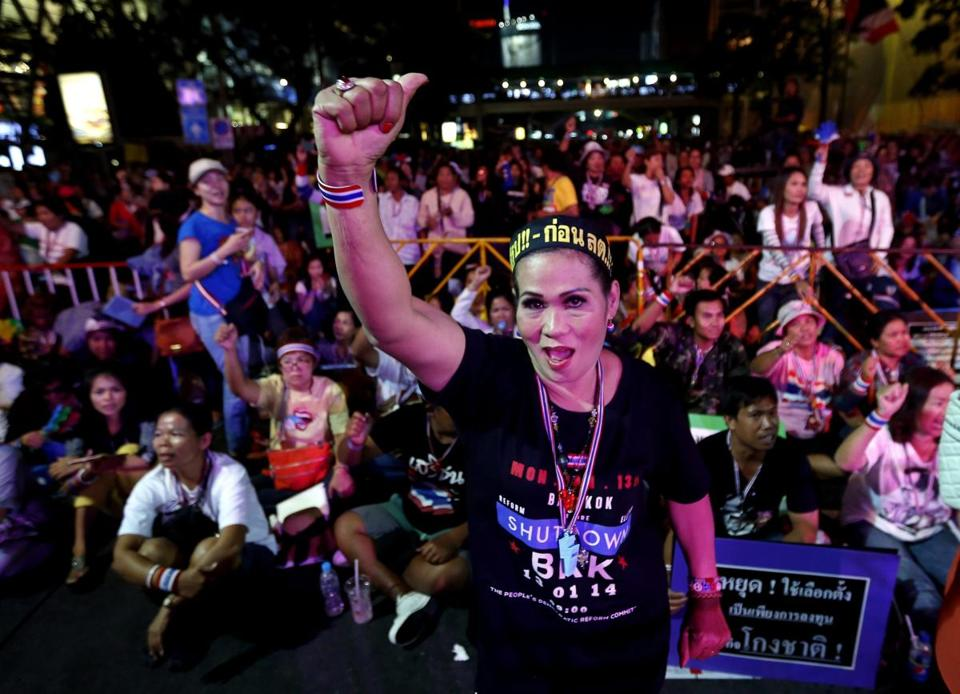 A Thai antigovernment demonstrator cheered during a speech by protest leader Suthep Thaugsuban at a rally in Bangkok on Saturday.