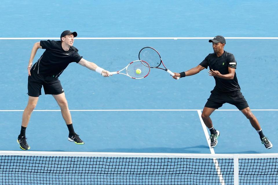 Eric Butorac (left), who lives in Boston and coaches at Harvard, reached the doubles final with partner Raven Klaasen.