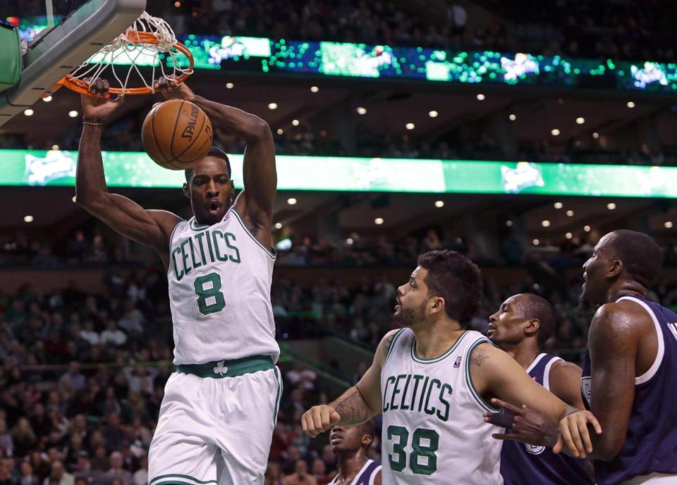 Celtics forward Jeff Green threw down a dunk during the second quarter.