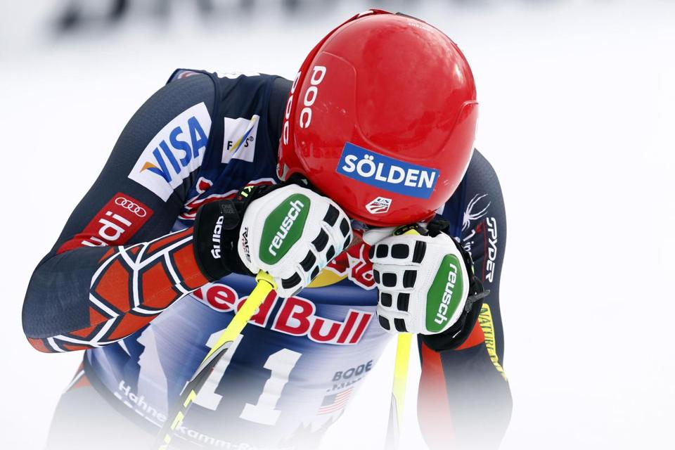 Bode Miller reacted after his trip down the slope during Saturday's race in Austria.
