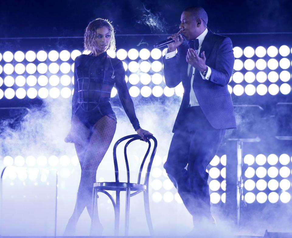 Beyonce and her husband Jay Z performed at the 56th annual Grammy Awards.