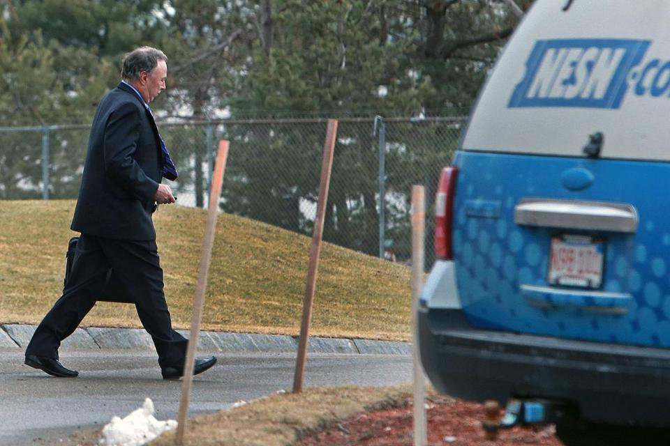 Red Sox broadcaster Jerry Remy left NESN offices in Watertown on Monday after meeting with reporters.