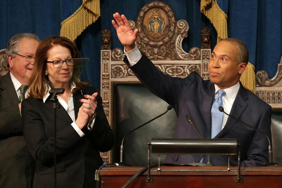 House Speaker Robert A. DeLeo and Senate President Therese Murray applauded following Governor Deval Patrick's speech. Murray noted their accomplishments, while DeLeo reiterated his commitment to pass a higher minimum wage.