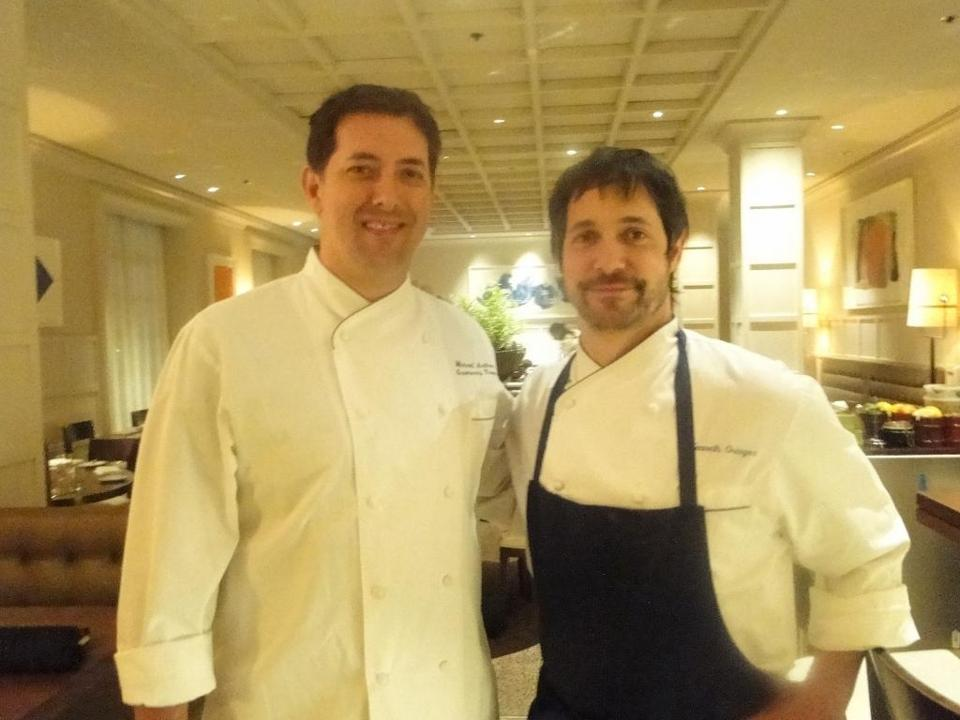Gramercy Tavern chef Michael Anthony (left), with Clio chef Ken Oringer on Wednesday.